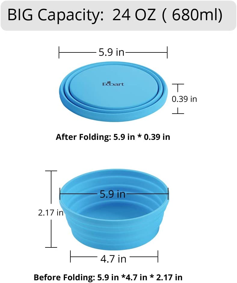 Blue Ecoart Silicone Expandable Collapsible Bowl for Travel Camping Hiking L