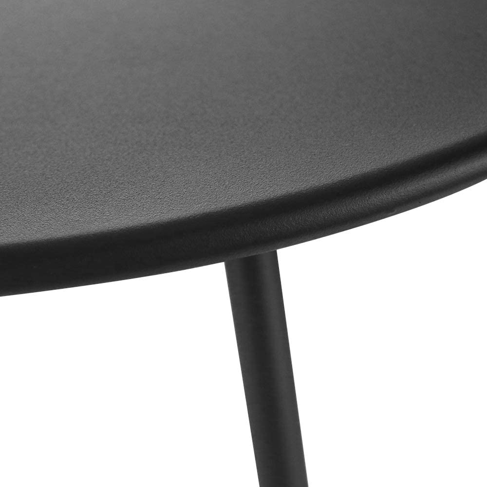 Patio Bistro Side Table Metal Steel Coffee Snack Tea Accent End Table Small Round Indoor Outdoor Garden Blancy Black