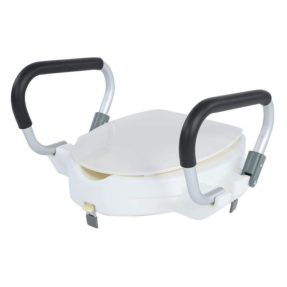 4'' inch Elevated Raised Disability Aid Toilet Seat with Removable Lid Padded Arm Crash-Proof Material by Eosphorus BS