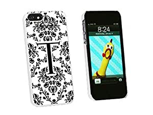 Letter T Initial Damask Elegant Black White - Snap On Hard Protective Case for Apple iPhone 5 5S - White by icecream design