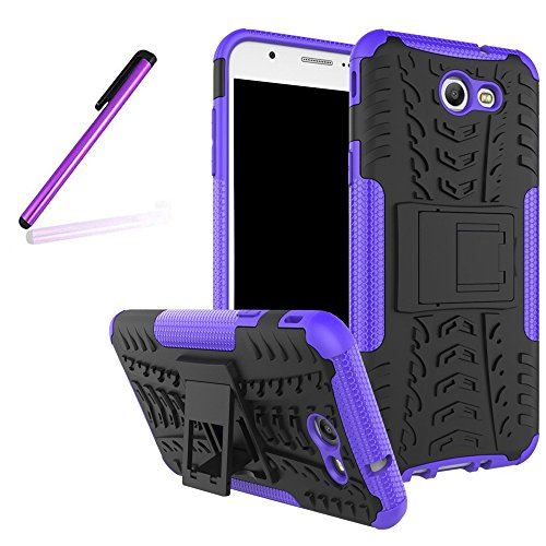 Galaxy J7 2017 Cover,Samsung Galaxy J7 2017 Case,LEECO [Heavy Duty] [Shockproof] Tough Dual Layer Protective Case Cover with Kickstand for Samsung Galaxy J7 2017 Heavy Purple - Kickstand Wrap Case