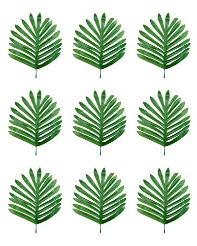 PRALB 40PCS Tropical Palm Leaves Luau Artificial Simulation Tropical Monstera Plant Leaves for Home Decoration and Hawaiian Luau Party Table Decoration.(29cmx18cm)