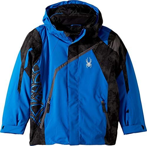 Spyder Boys' Challenger Ski Jacket, Turkish Sea/Cloudy Reflective Distress Prt/Polar, Size 14