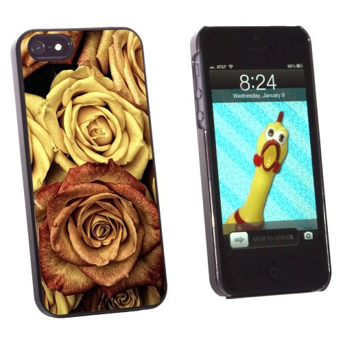 Graphics and More Vintage Red Yellow Roses - Snap-On Hard Protective Case for Apple iPhone 5/5s - Non-Retail Packaging - Black