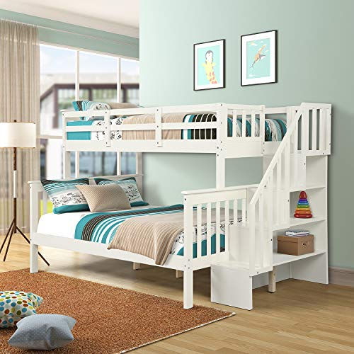 Twin Over Full Bunk Bed with Stairs, WeYoung Pine Wood Bunk Bed Frame Convertible to Twin Full Size Bed with Side Storage Shelves for Kids Teens No Box Spring Needed White