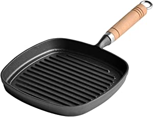 l.e.i. Cast Iron Skillet,12 inch Square pan,with Wooden Handle,Non-Stick Without Coating,Chef Quality Tools,for Grilling Meat Bacon Steak Fish and Vegetables