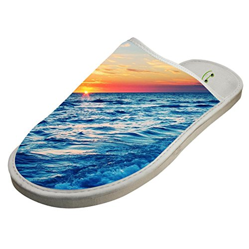Slippers with Sunset Sunrise Sea 3D Print Indoor Sandals Comfy Shoes Flat Winter Sleeppers 12 B(M) US by JLL-HITOLY