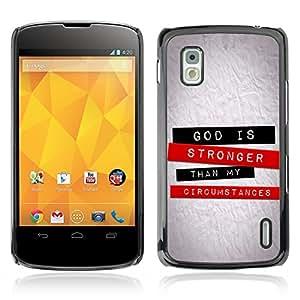 Paccase / Dura PC Caso Funda Carcasa de Protección para - BIBLE God Is Stronger - LG Google Nexus 4 E960