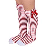 Girls Long Knee Socks Kids Bowknot Striped Leg Warmers(red+white)