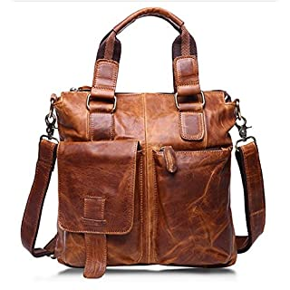 "ZEEMOO Men's Vintage Crazy Horse Genuine Cow Leather Business Bag A4 Work Tote Briefcase Messenger Bag Shoulder Bag, Fit 11"" Laptop (Brown Yellow)"