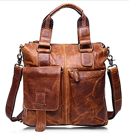 05975f24098 Image Unavailable. Image not available for. Color: Men's Vintage Crazy  Horse Genuine Cow Leather Business Bag ...