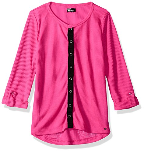 kensie Big Girls' Long Sleeve Fashion T-Shirt (More Styles Available), Neon Hot Pink, 7/8 by kensie