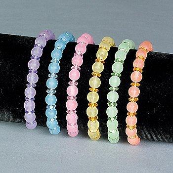 2 Dozen Plastic Pastel Bead Bracelets (24) (Plastic Pastel Peach)