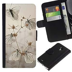 Billetera de Cuero Caso Titular de la tarjeta Carcasa Funda para Samsung Galaxy S4 Mini i9190 MINI VERSION! / Butterfly Field Grey Summer Nature / STRONG