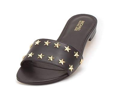 caf6ad77adc1 Michael Michael Kors Womens Mercer Slide Leather Open Toe