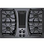 "Appliances : GE PGP9830DJBB Profile 30"" Black Gas Sealed Burner Cooktop - Downdraft"