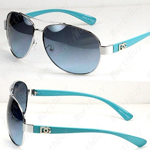 New DG Eyewear Aviator Fashion Designer Sunglasses Shades Mens Women Blue/Blue Tinted Lens (Quality High Elvis Sunglasses)