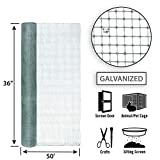 Garden Zone 36 Inches x 50 Feet Galvanized Wire Mesh Hardware Cloth for Fencing with 1/8-Inch Openings