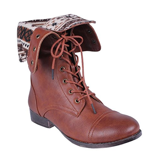 DBDK SHARPERY-1 Women's lace up combat style mid calf boots