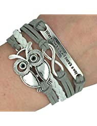 Trendy Women Infinity Owl Friendship Antique Leather Cute Charm Bracelet Gift including gift box