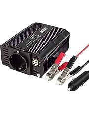 eLinkSmart 300 W auto-omvormer spanningsomvormer DC 12 V naar AC 230 V inverter met EU-stopcontact en 2 USB 2.1 A aansluitingen, inclusief autosigarettenaansteker, stekker autoaccuclips