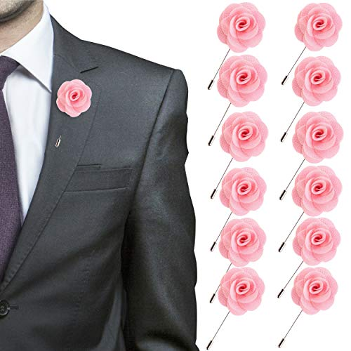 JLIKA Lapel Flower Pin Rose for Wedding Boutonniere Stick - Set of 12 PINS (Light Pink)