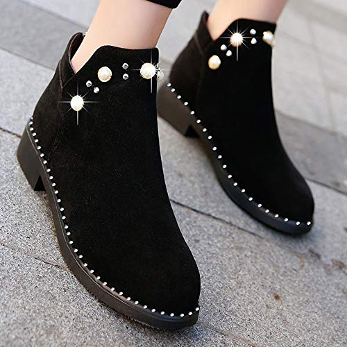 Flat Vintage Pearl Slipper Shoes Black Elegant Boots Vintage HCFKJ Zipper Boots Suede Ladies Ankle Women Shoes Boots Martain FBq1O0