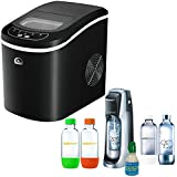 Igloo Compact Ice Maker (ICE101-BLACK) with Exclusive SodaStream Fountain Jet Soda Maker in Black with w/ 4 Bottles & Starter CO2