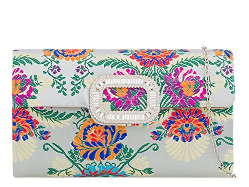 New Embroidery Silver Ladies Clutch Embroidery Flower New Silver Satin Satin Clutch Flower Ladies rqRrwCv