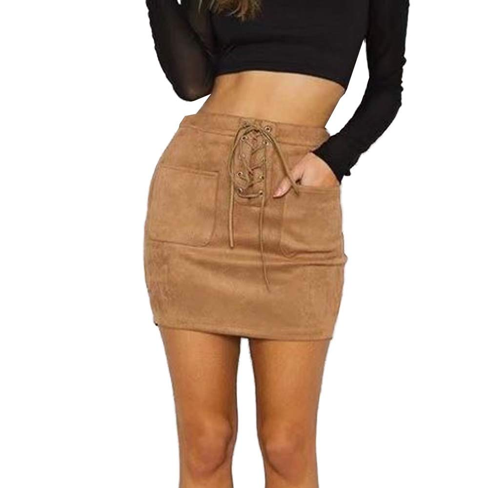 Lavany Women's High Waist Skirt Faux Suede Lace-up A-line Mini Short Skirt for Girls Khaki