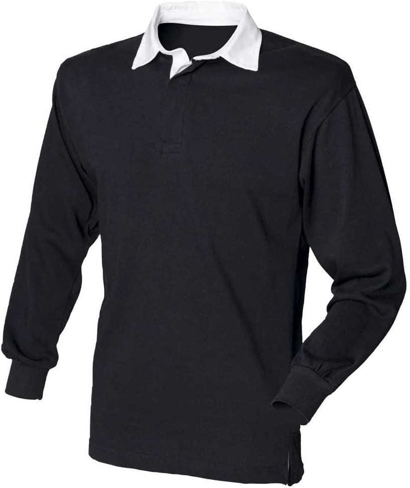 Front Row Mens Long Sleeve Classic Cotton Rugby Shirt