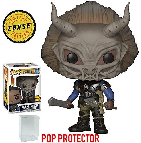Funko Pop! Marvel: Black Panther - Masked Erik Killmonger Limited Edition CHASE variant Vinyl Figure (Bundled with Pop BOX PROTECTOR CASE)