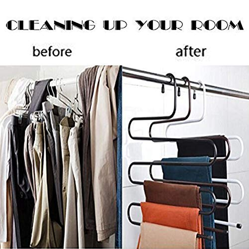 Amagoing 4 Sets S-type Metal Pants Hangers,Closet Storage for Jeans Trousers Space Saver Storage Rack