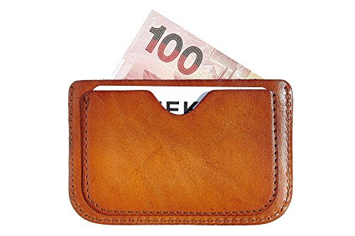 MEKU Handmade Leather Card Case Thin Wallet Slim Card Holder with 3 Card Slots Front Pocket Xmas Gifts