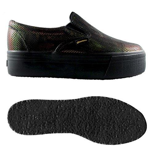 Scarpe da donna - 2314-leathertwillw negro/rojo
