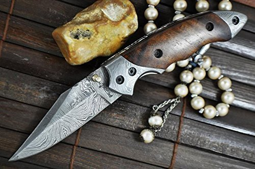 Perkin Knives Custom Handmade Damascus Folding Knife