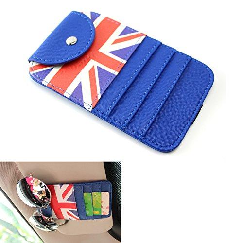 iJDMTOY (1) Red/Blue Union Jack UK Flag Style Sun Visor Organizer Holder For Sunglasses, Credit Cards, FasTrak Transponder, Reader, Garage Remote, etc (Rangers Credit Card)