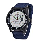 Military Watch,Men Analog Watches Army Filed Tactical Sport Wrist Watches Canvas Strap Calendar Date (Blue -E1)