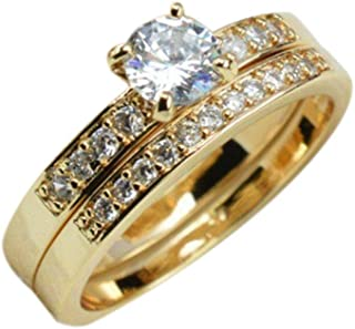 Minzhi Women Men Zircon 18K Gold Plated Ring Alloy Jewelry Accessories Lovers Couples Wedding Gifts
