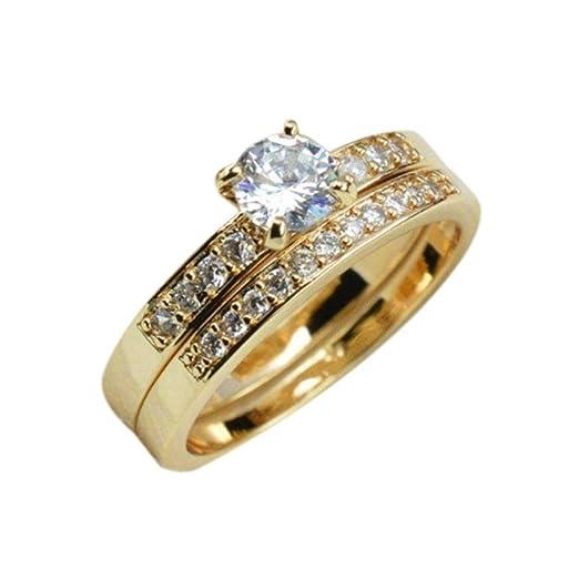 dd458bac965fd Amazon.com: Arichtop Women Men Zircon 18K Gold Plated Ring Alloy ...