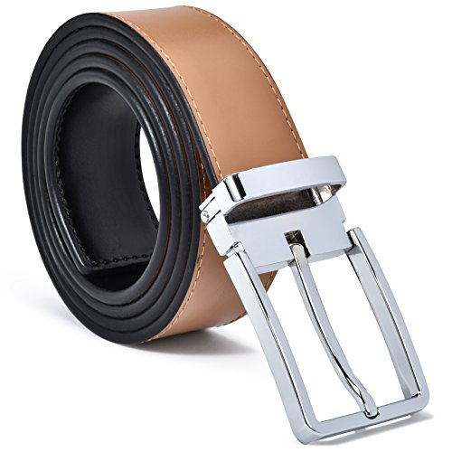 Mens Belt 100% Fine Leather Mens Belt Dress Belt Genuine Italian Leather Reversible (Black/Tan Leather With Enzo Silver Buckle, Large - (36-38)) (Tan Leather Reversible)