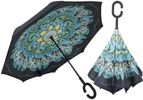Inverted Umbrella Double Layer Windproof UV Protection Sun&Rain Car Reverse folding Umbrellas Cute Travel Umbrella Manually Rain Windproof Anti-UV Star Flower Umbrella for Easy Carrying