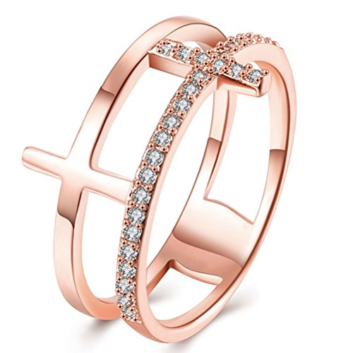 FENDINA Promise Ring for Her 18K Rose Gold Plated Fashion Jewelry Cross Enhancer Rings Women CZ Halo Diamond Cocktail Stacking Rings
