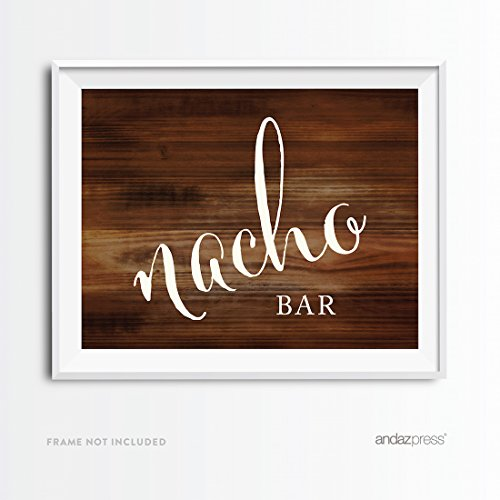Andaz Press Wedding Party Signs, Rustic Wood Print, 8.5x11-inch, Nacho Bar Reception Dessert Table Sign, 1-Pack, Food Station Decor Signage for Outdoor Weddings (Outdoor Wood Bar)