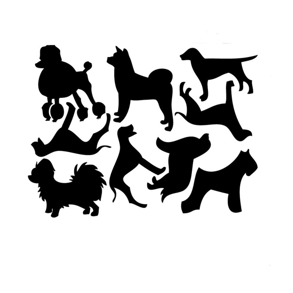 9Pc Cartoon Dog Sticker Combination 3D Acrylic Mirror Wall Stickers Home Decoration DIY Wall Stickers Decals Living Room Stick Stickers Bedroom Nursery Decals (Black)