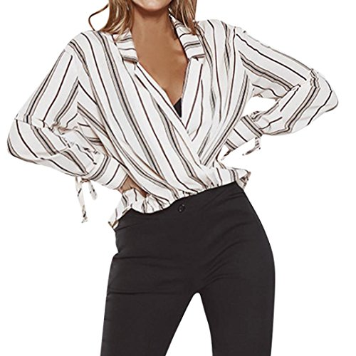 ManxiVoo Women's Striped Surplice Wrap V Neck Long Sleeve High Low Tie Wrap Blouse Top (X-Large, White)