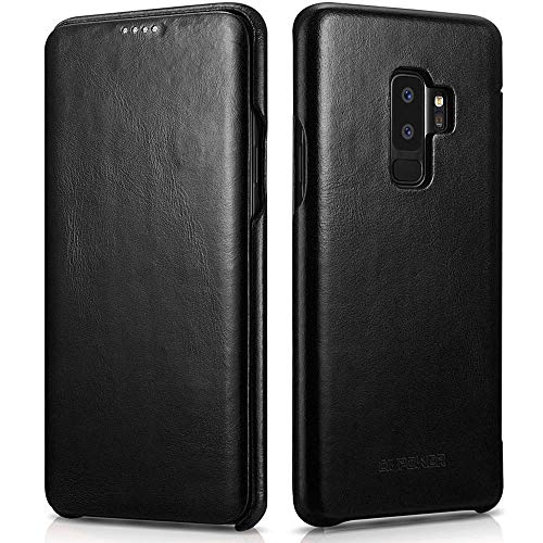 (Samsung Galaxy S9 Plus Leather Case - Best Curved Edge Design Genuine Vintage Leather Side Open Flip Case with Hidden Magnetic Snap - Effective Full Cover Protection for Samsung Galaxy)