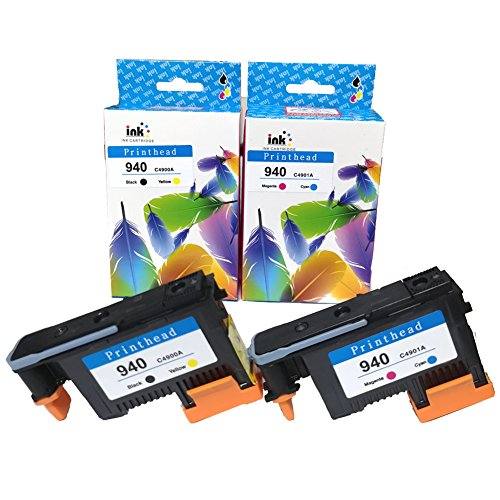 YXG 2 Pack 940 Printhead C4900A C4901A Replacement for HP 940 Printhead Compatible with Officejet Pro 8000 8500 8500A 8500A Plus 8500A Premium (1 BK/Y+ 1 C/M) by YXG