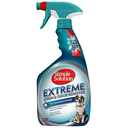 Feces Stain Removal (Simple Solution Pet Extreme Stain & Odor Remover, With New Multi Functional Sprayer, 32 OZ, USA Made (Packaging May Vary))