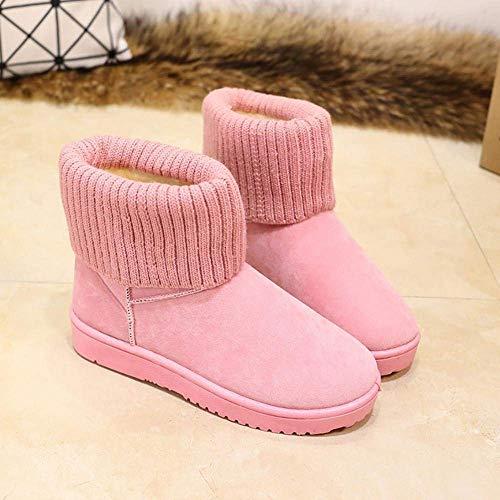 Noir Doublées 39 Pour Neige Rose Taille Femmes Bottes Boucle Nœud Oudan coloré D'hiver Avec De qwUPO4a4